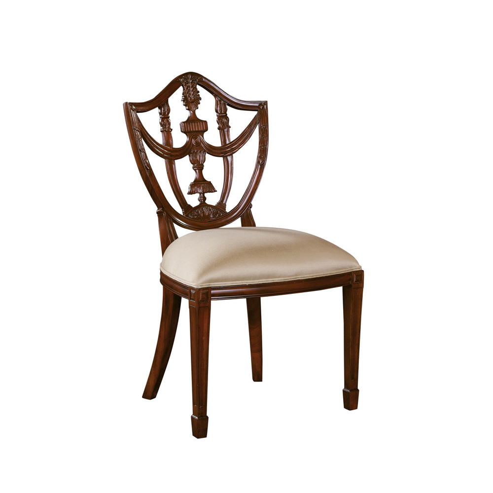Maitland-Smith - Carved Polished Mahogany Hepplewhite Shield Back Side Chair