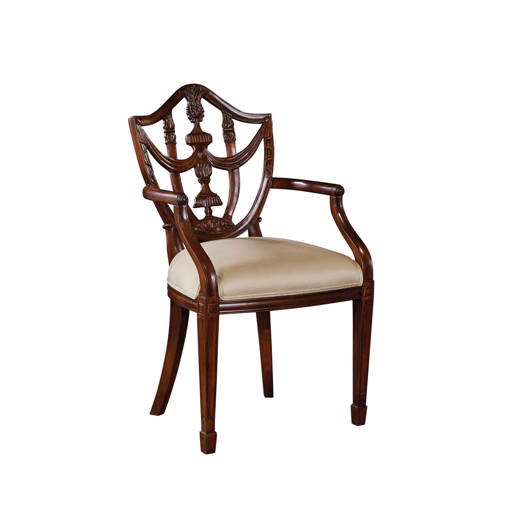 Maitland-Smith - Carved Polished Mahogany Hepplewhite Shield Back Arm Chair