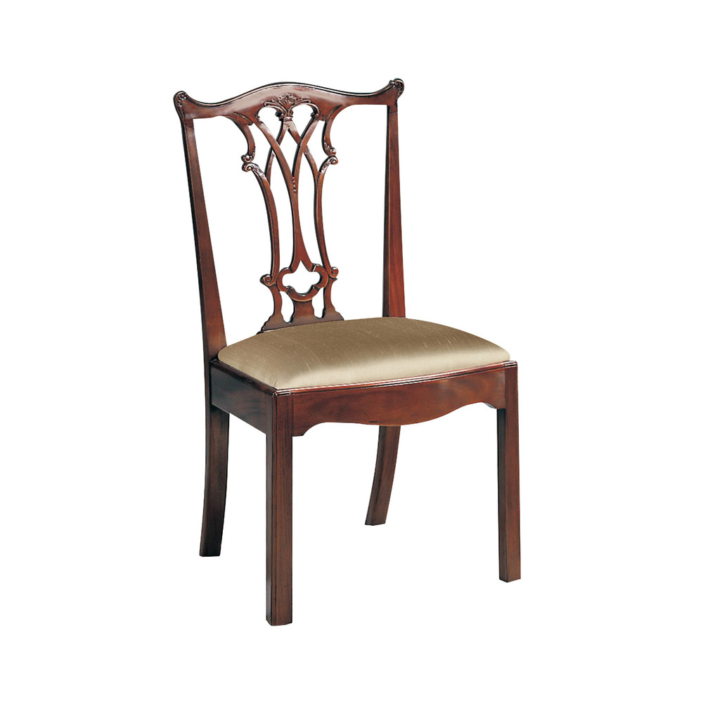 Maitland-Smith - Carved Polished Mahogany Chippendale Straight Leg Side Chair