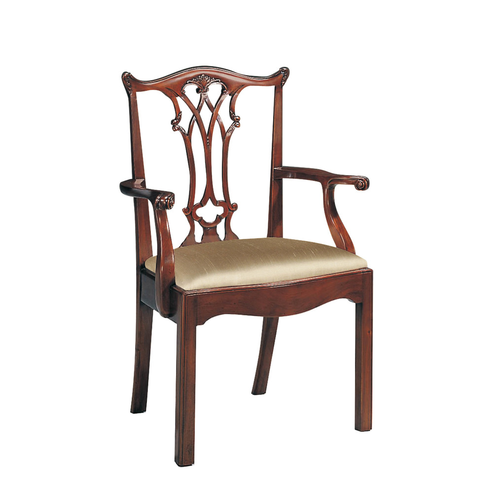 Maitland-Smith - Carved Polished Mahogany Chippendale Straight Leg Arm Chair