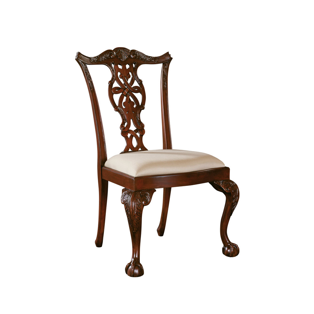 Maitland-Smith - Carved Polished Mahogany Chippendale Side Chair