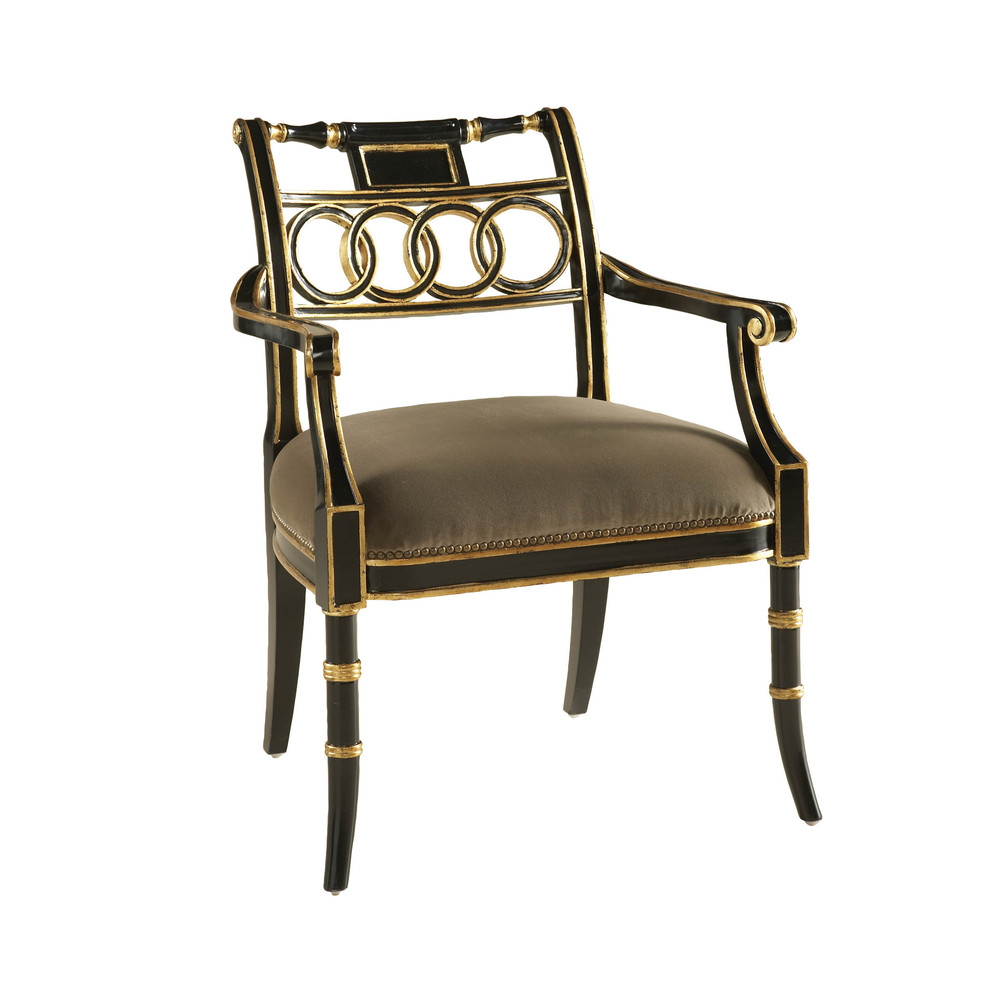 Maitland-Smith - Rubbed Black Lacquer Arm Chair