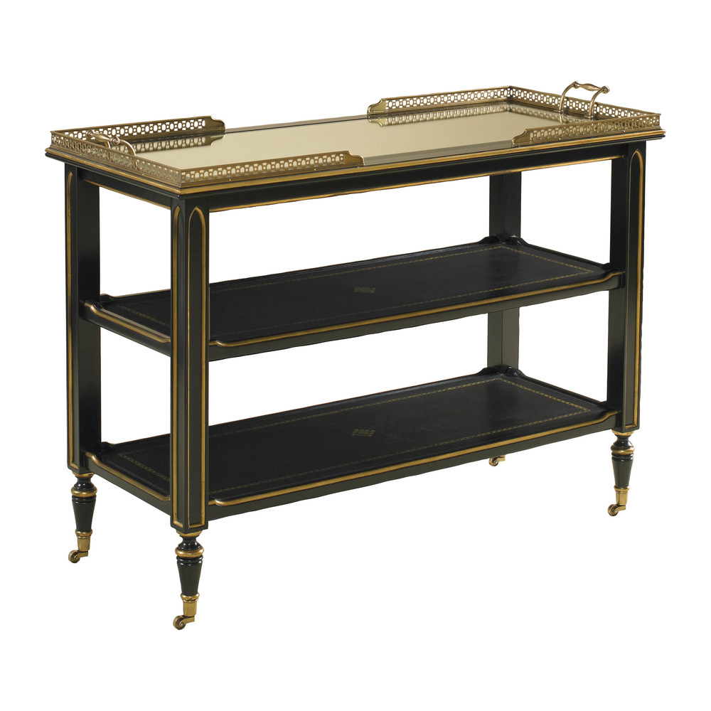 Maitland-Smith - Ambassador Leather Inlay Serving Cart with Gold Tooling Accents