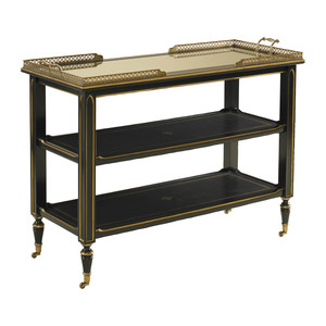 Thumbnail of Maitland-Smith - Ambassador Leather Inlay Serving Cart with Gold Tooling Accents