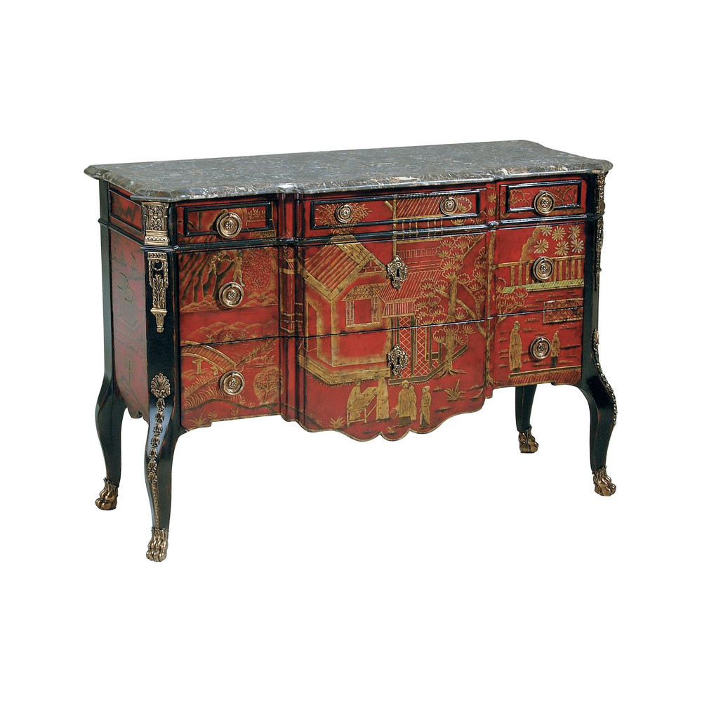 Maitland-Smith - Hand Painted Red Ground Chinoiserie Chest of Drawers