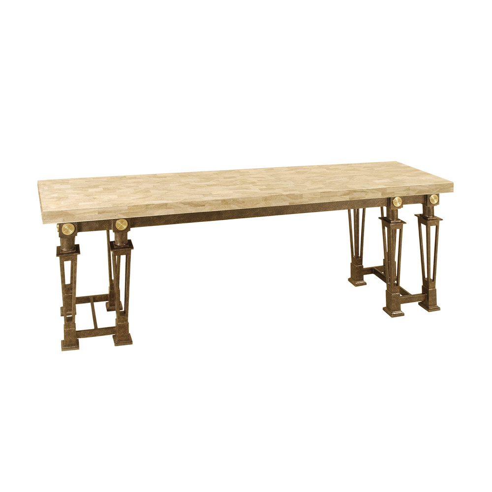 Maitland-Smith - Petrified Wood Stone and Black Iron Buffet Table