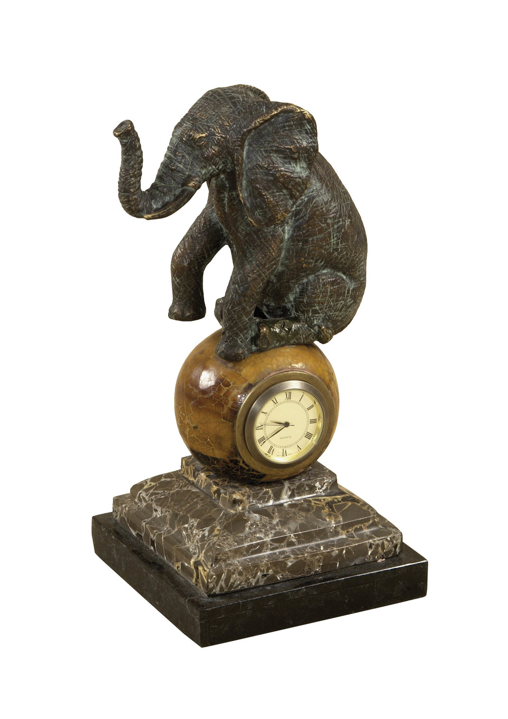 Maitland-Smith - Verdigris Cast Brass Elephant Table Top Clock