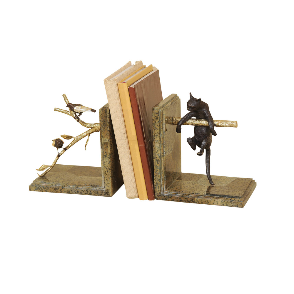 Pair Of Bookends With Cat And Bird Motif By Maitland Smith Furnitureland South The World S Largest Furniture Store
