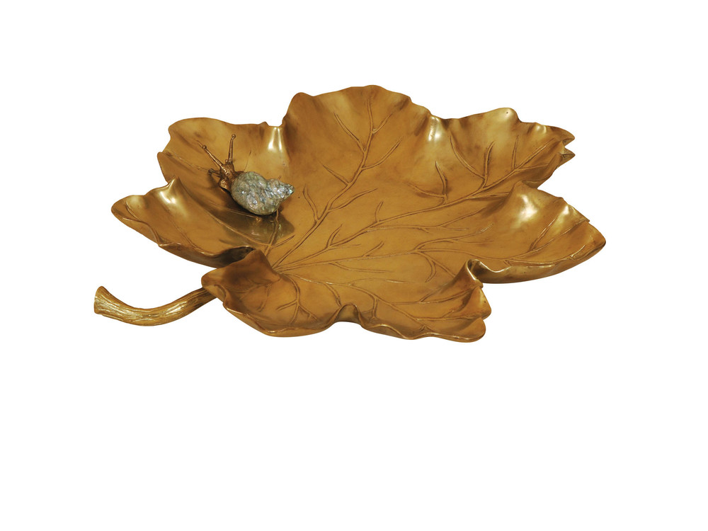 Maitland-Smith - Soft Cast Brass Leaf Dish with Snail Motif