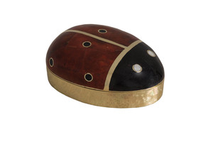 Thumbnail of Maitland-Smith - Red and Black Penshell Inlaid Box with Ladybug Motif