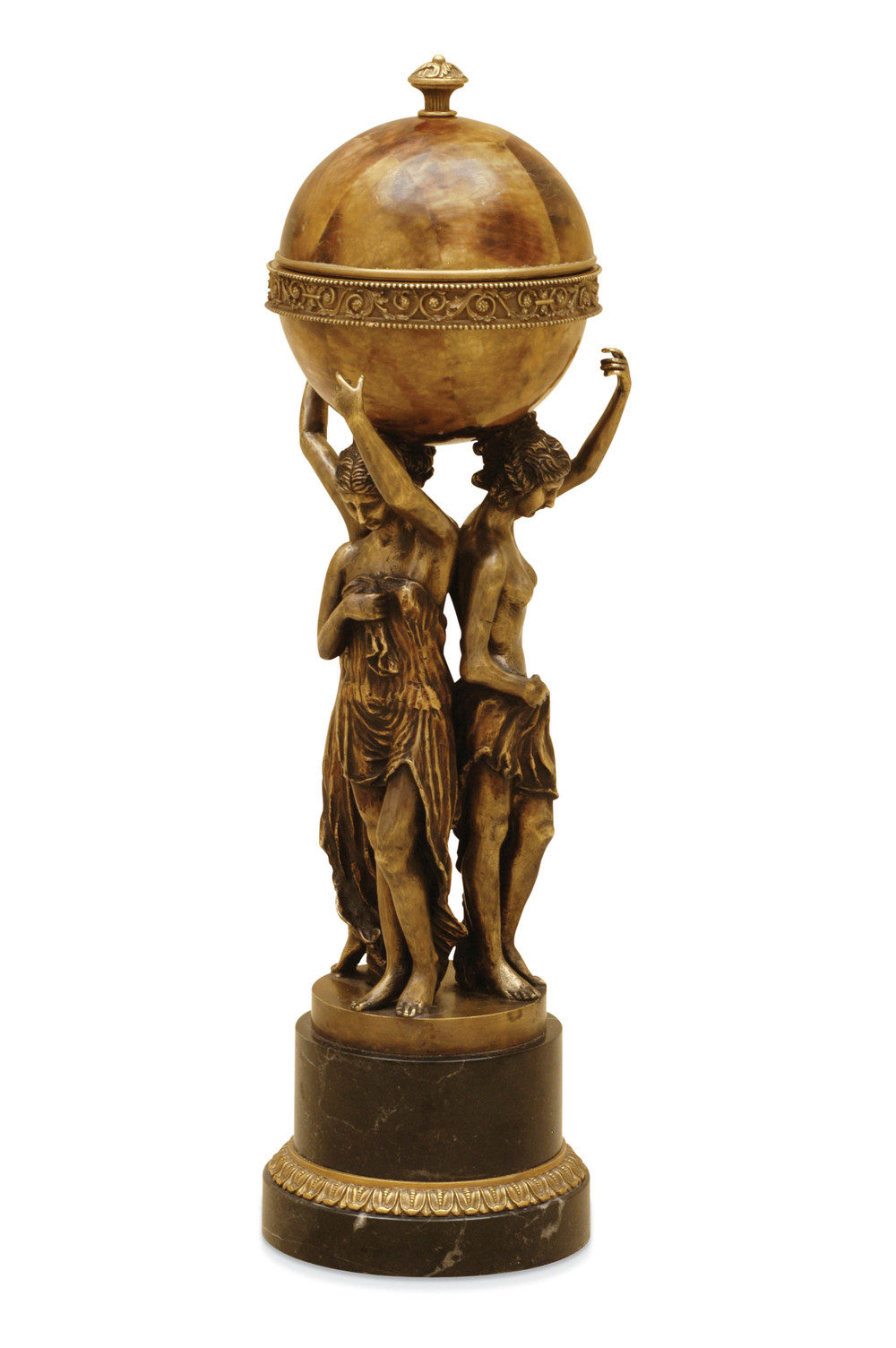 Maitland-Smith - Highlighted Brass Ladies Holding Tiger Penshell Box