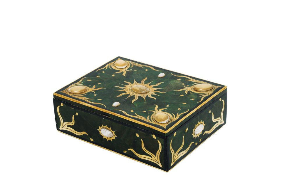 Maitland-Smith - Cast Polished Brass Alastaya Jeweled Box with Inlaid Dyed Green Penshell