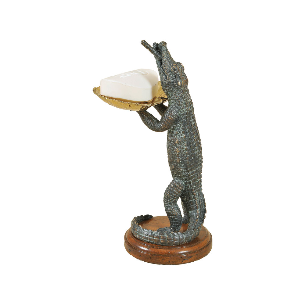Maitland-Smith - Verdigris Cast Brass Crocodile Soap Holder