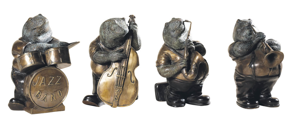 Maitland-Smith - Antique Brass Frog Band with Verdigris and Bronze Highlights