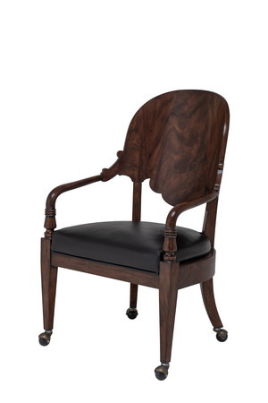 Thumbnail of Maitland-Smith - Espresso Neoclassical Mahogany Game Chair with Black Leather Upholstery