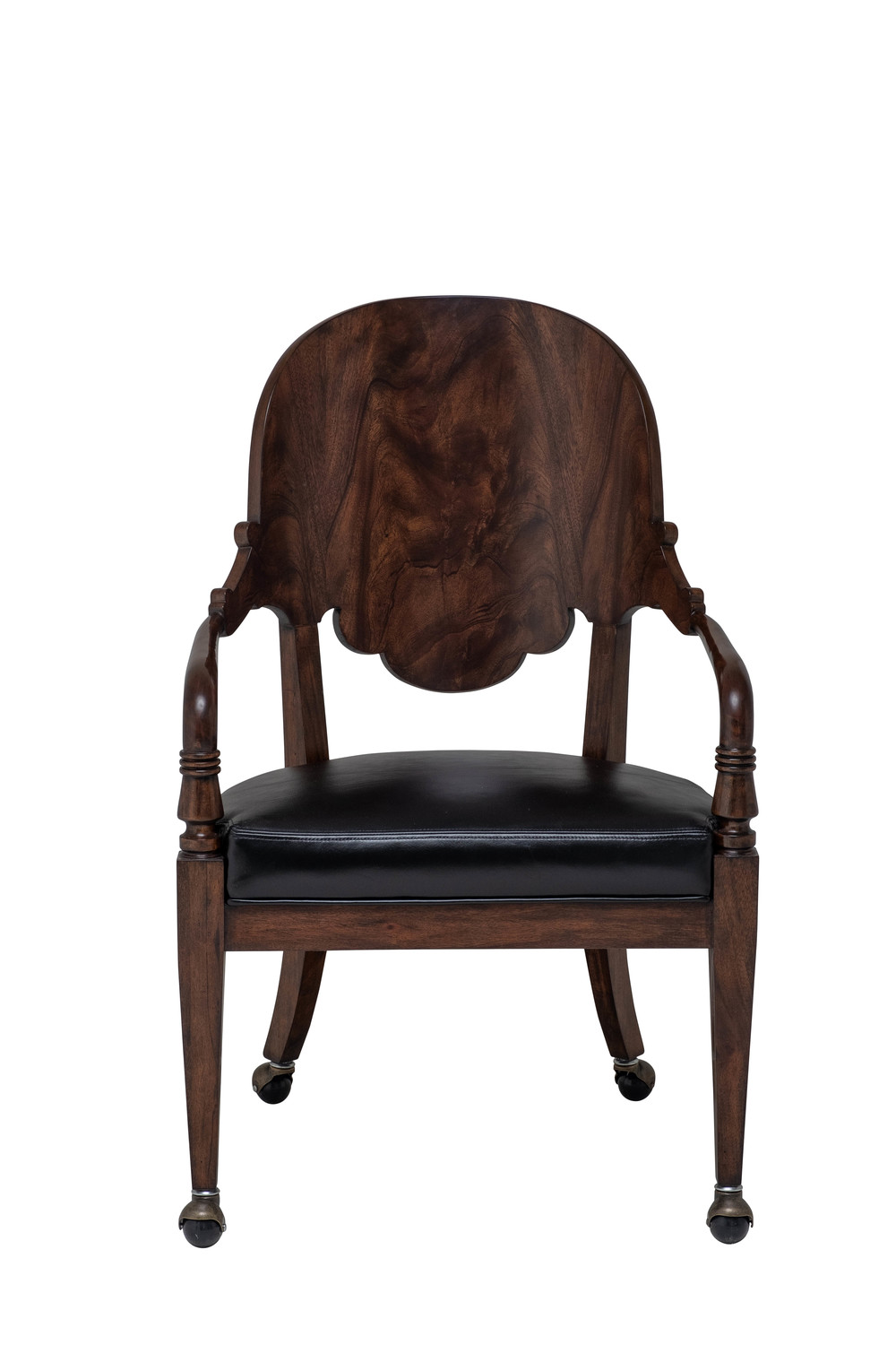 Maitland-Smith - Espresso Neoclassical Mahogany Game Chair with Black Leather Upholstery