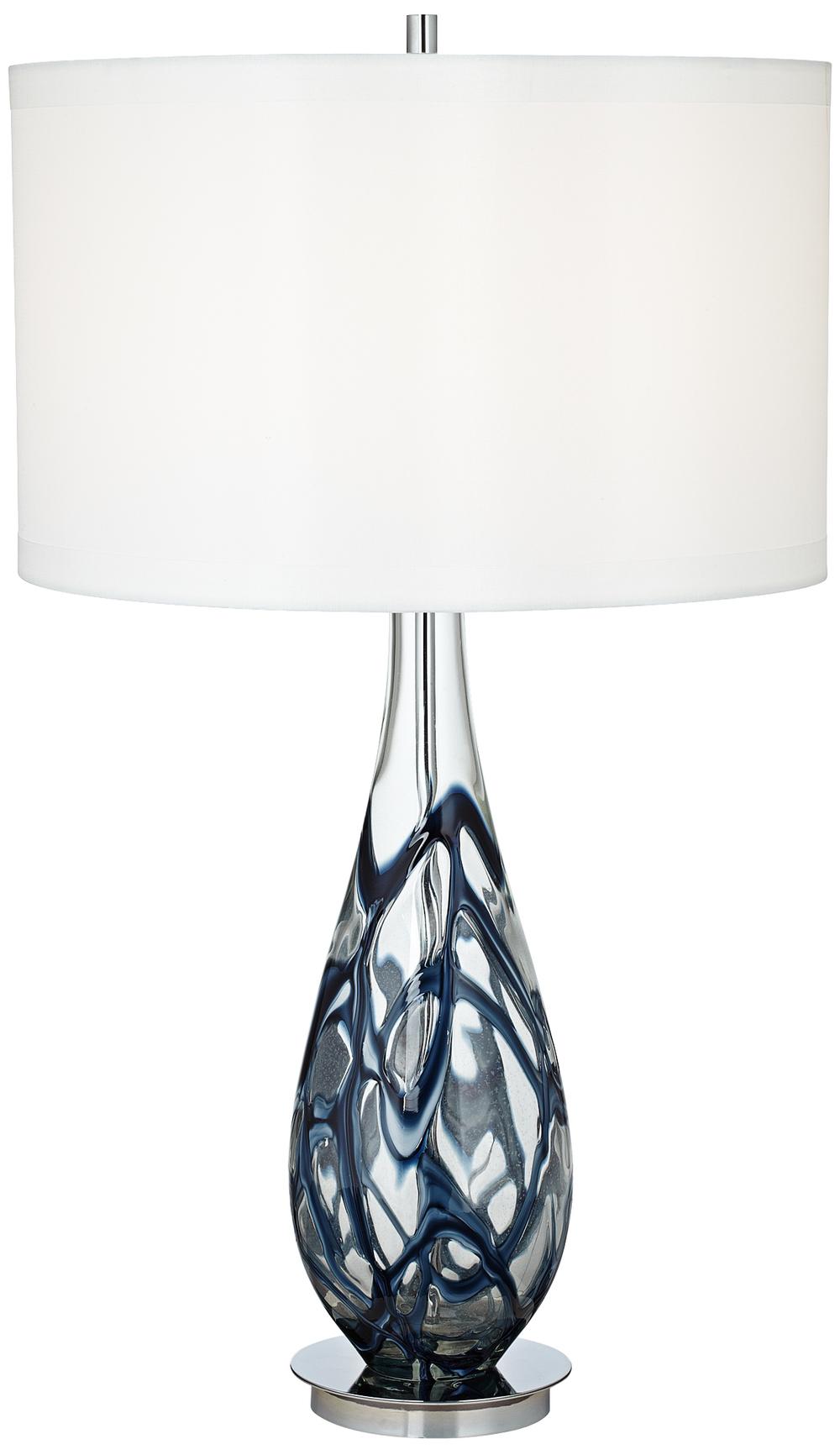 Pacific Coast Lighting - Indigo Swirl Art Glass Table Lamp