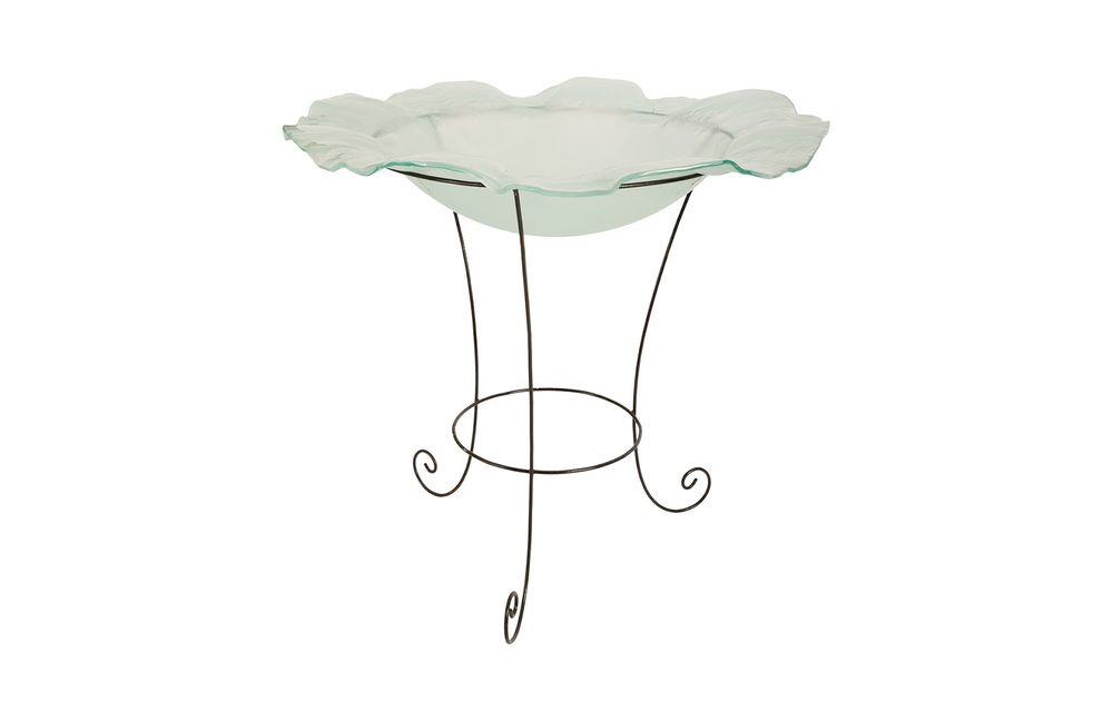 Phillips Collection - Frosted Glass Bowl on Stand Large