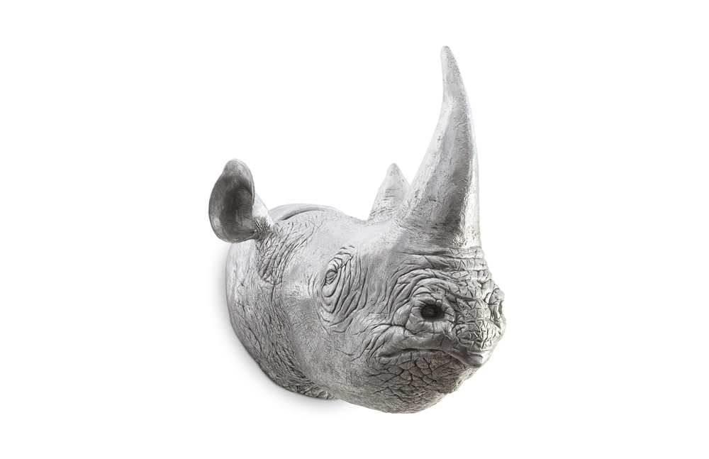 Phillips Collection - Rhinoceros Wall Sculpture in Silver Leaf