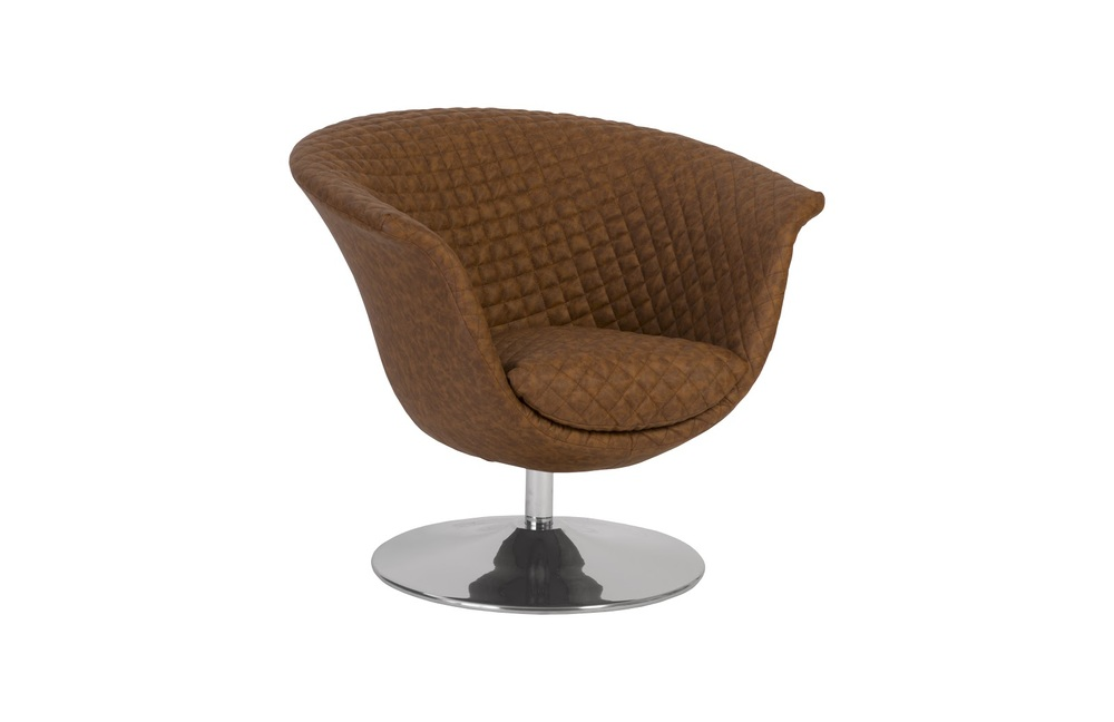Phillips Collection - Autumn Chair Cognac Quilted Trumpet Swivel Base