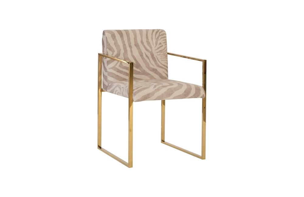 Phillips Collection - Frozen Arm Chair with Brass Frame Zebra Beige