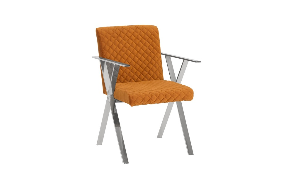 Phillips Collection - Allure Dining Chair with SS Frame Quilted Orange