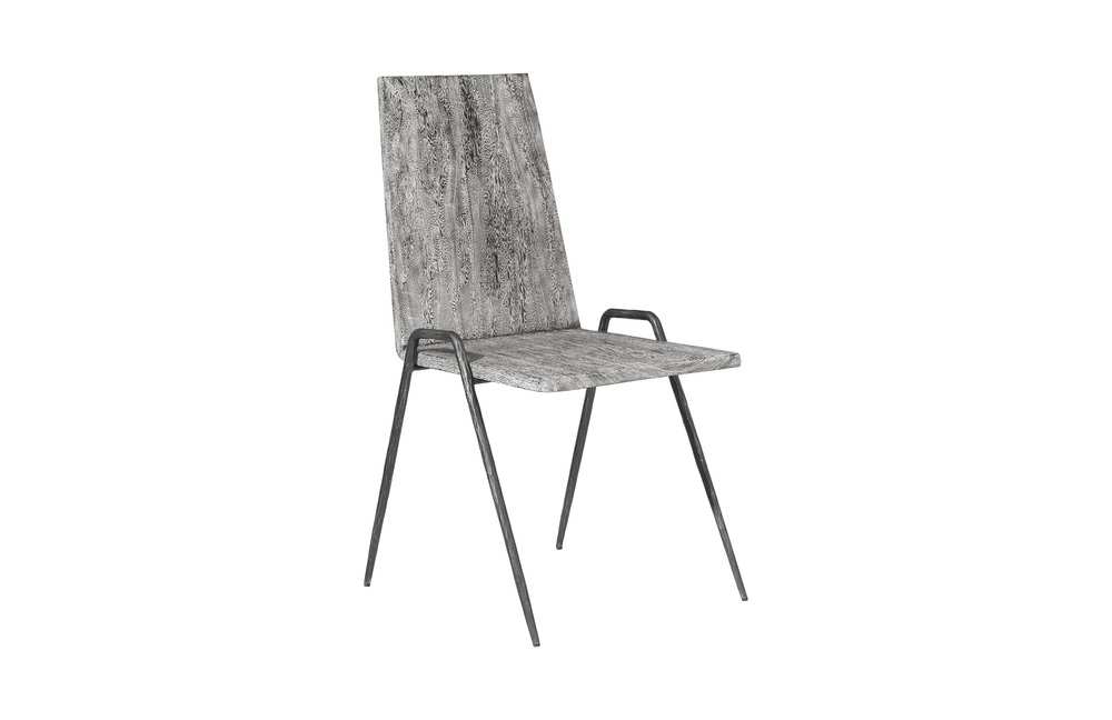 Phillips Collection - Forged Leg Dining Chair Metal Grey Stone / Black