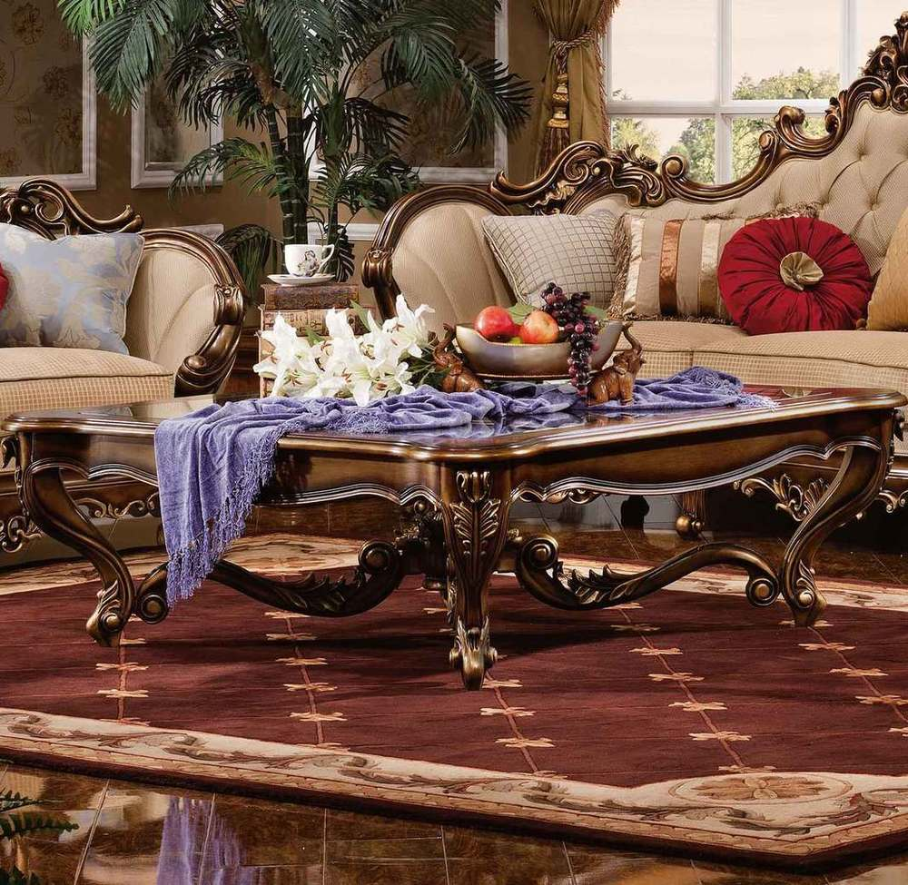 Orleans International - Barivia Coffee Table with Glass Top