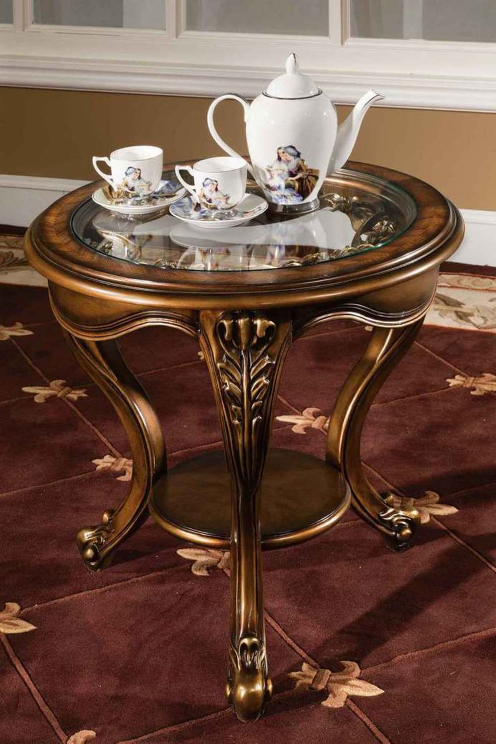 Orleans International - Barivia End Table with Glass Top