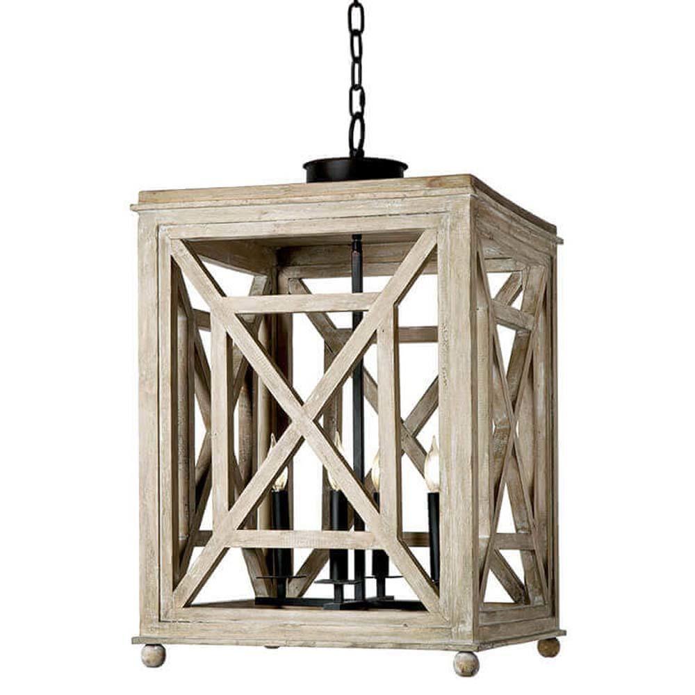 Regina Andrew - Wood Lattice Lantern Chandelier