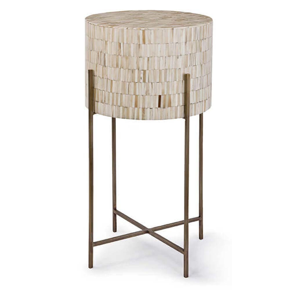 Regina Andrew - Aged Brass and Variegated Bone Drum Table