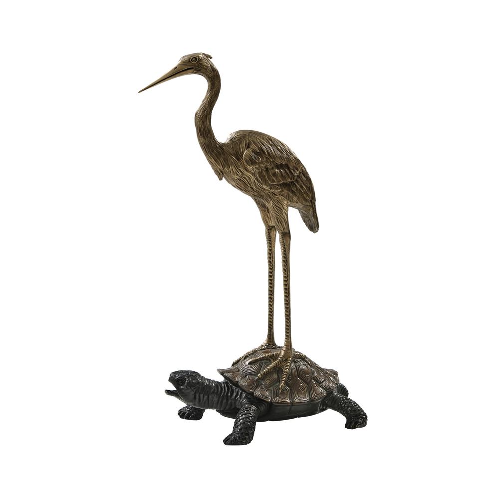 Theodore Alexander-Quick Ship - Symbolic Crane on Turtle Sculpture