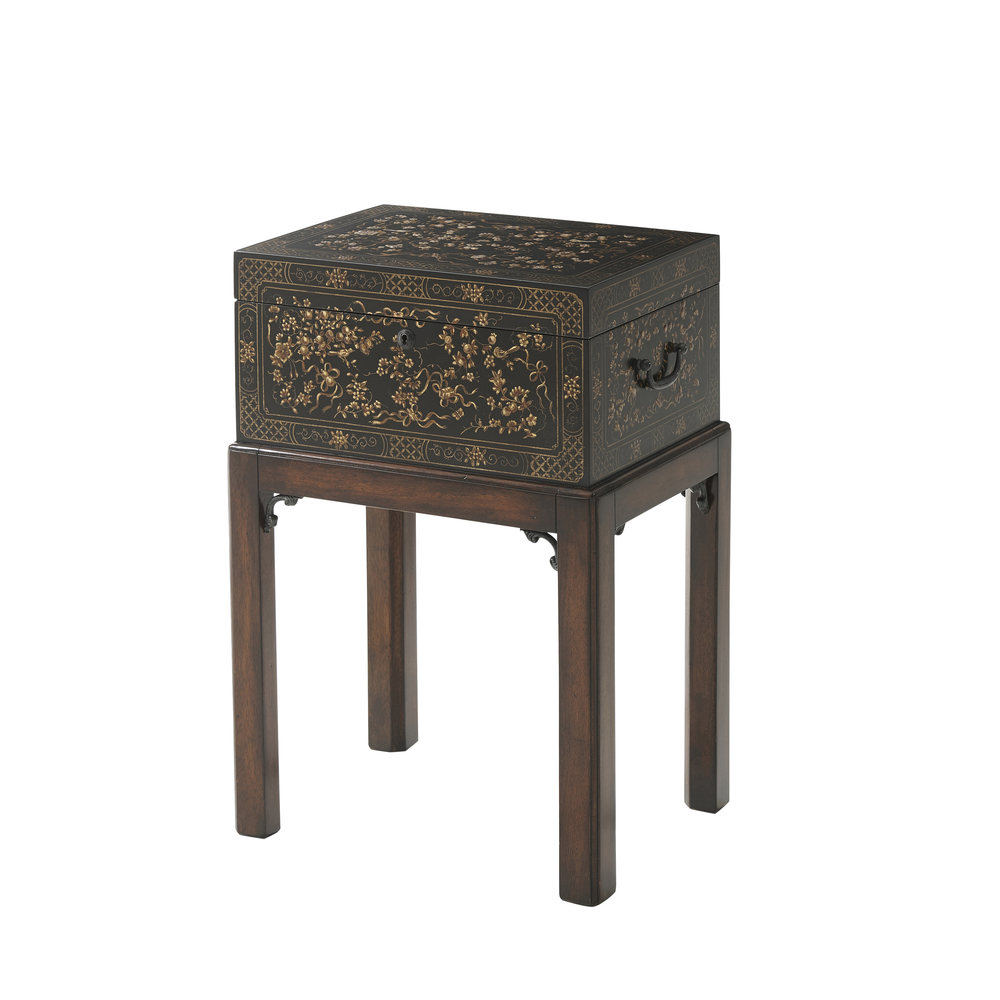 Theodore Alexander-Quick Ship - The Floral Painted Box Accent Table