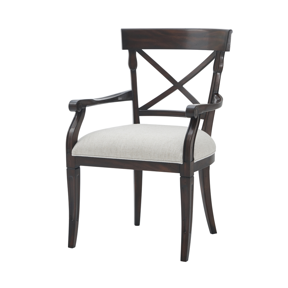 THEODORE ALEXANDER-QUICK SHIP - Wooden Upholstered Arm Chair