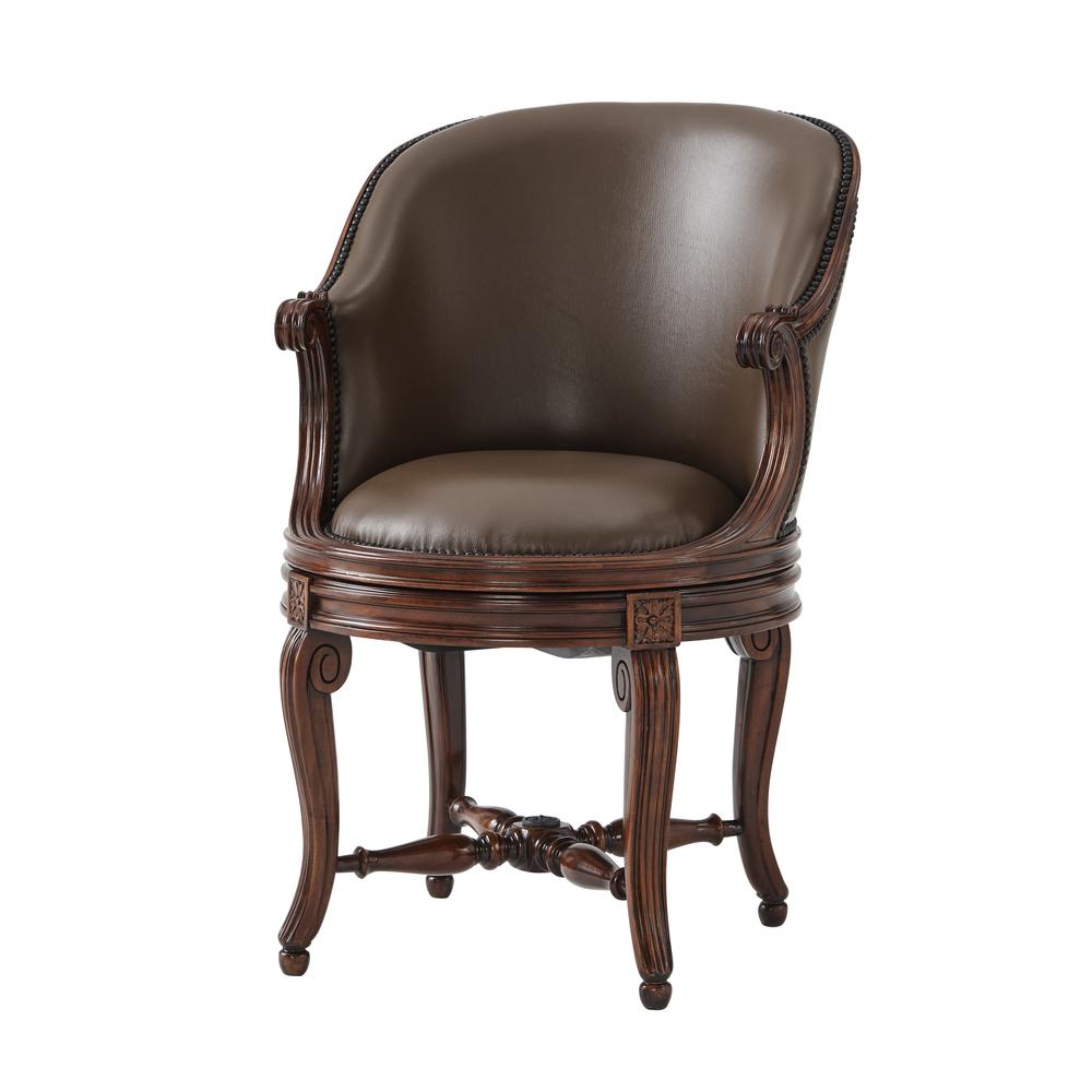 Theodore Alexander-Quick Ship - A walnut desk armchair