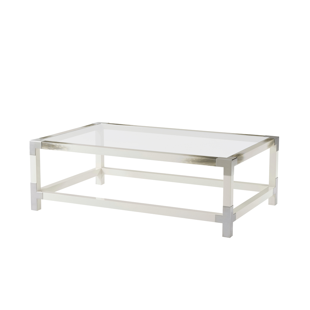 Theodore Alexander-Quick Ship - Cutting Edge(Longhorn White) Cocktail Table