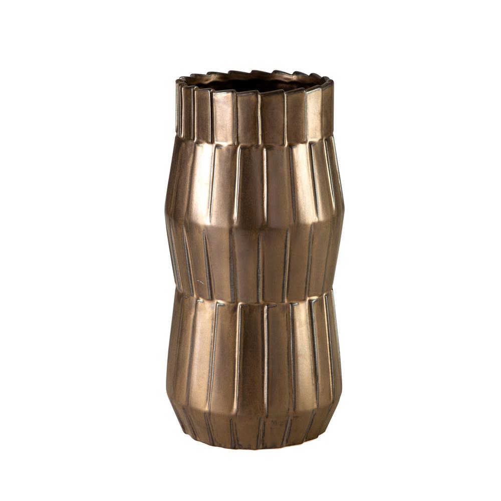 Theodore Alexander-Quick Ship - Basket Metallic Bronze Large Vase