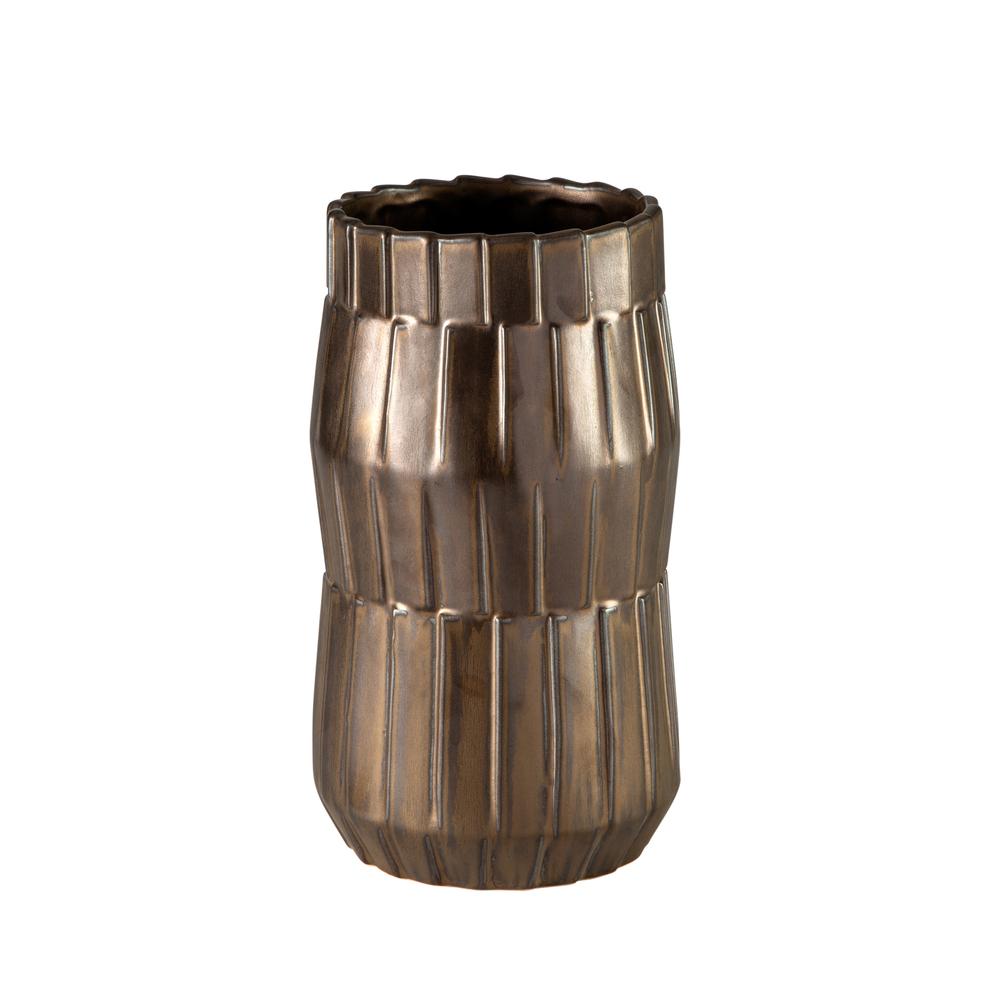 Theodore Alexander-Quick Ship - Basket Metallic Bronze Small Vase