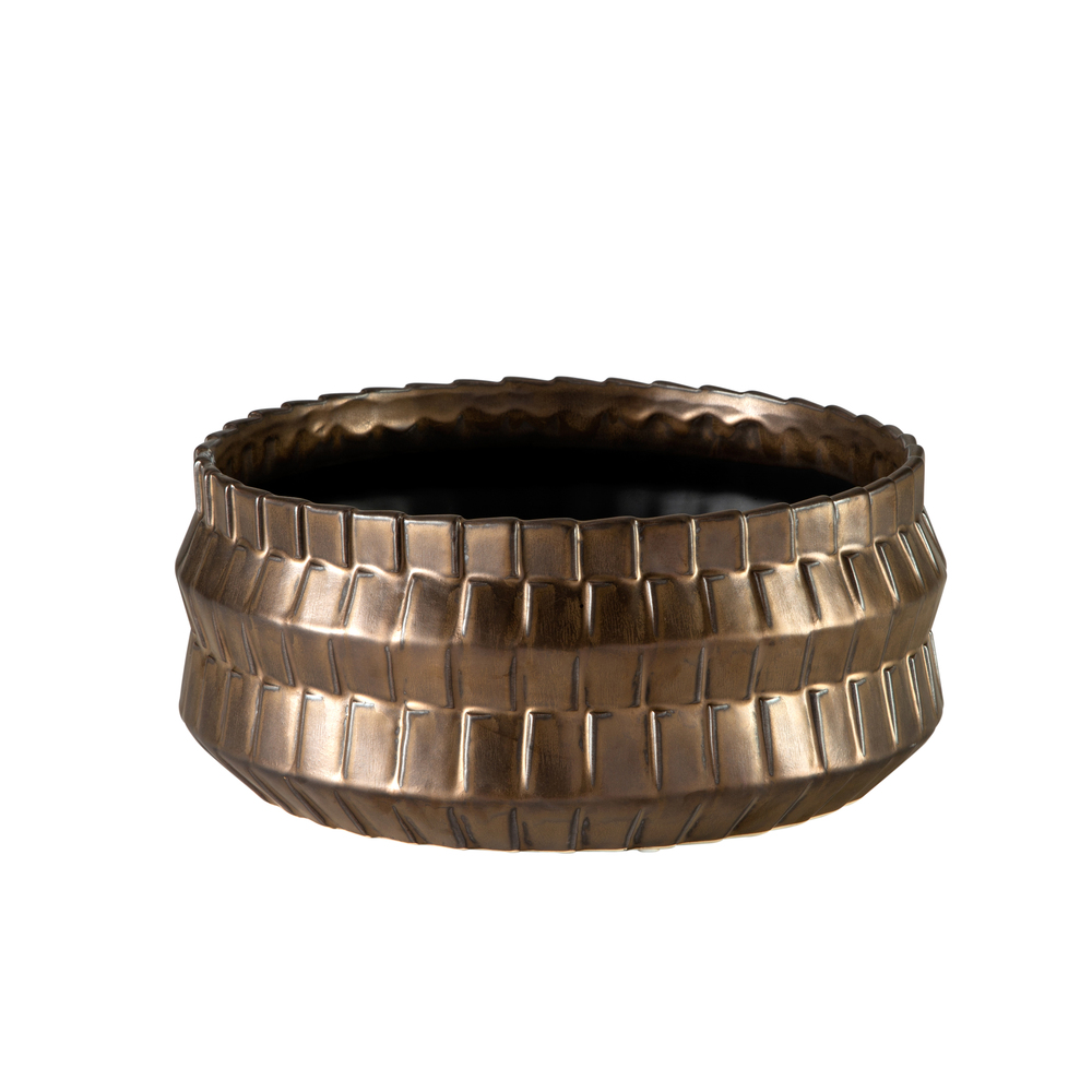 Theodore Alexander-Quick Ship - Basket Metallic Bronze Bowl
