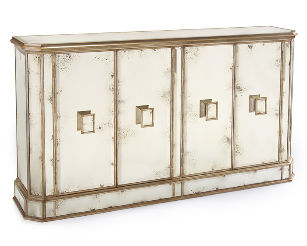John Richard Collection - Juno Foxed Mirror Four Door Credenza
