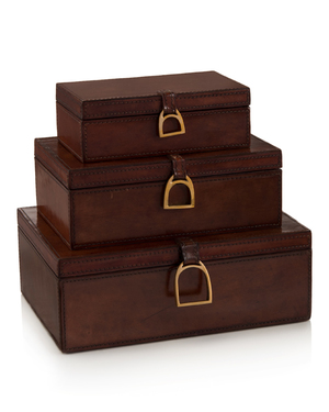 Thumbnail of John Richard Collection - Lacquered Hazel Leather Boxes, Set/3
