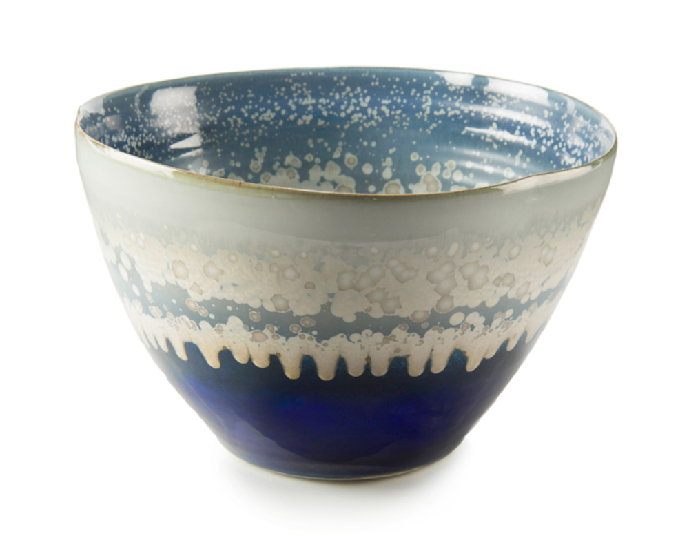 John Richard Collection - Reactive Blue and Cream Bowl