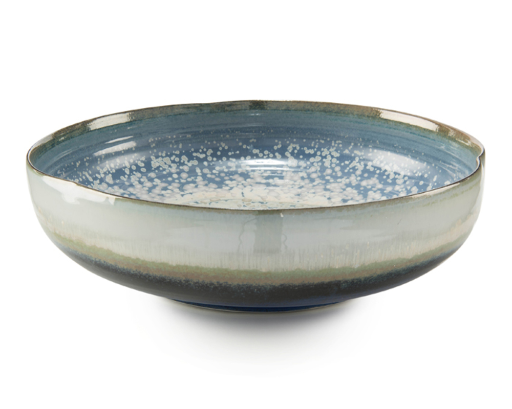John Richard Collection - Reactive Blue Shallow Bowl