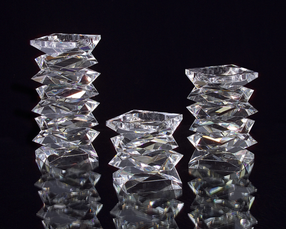 John Richard Collection - Stacked Crystal Candle Holder