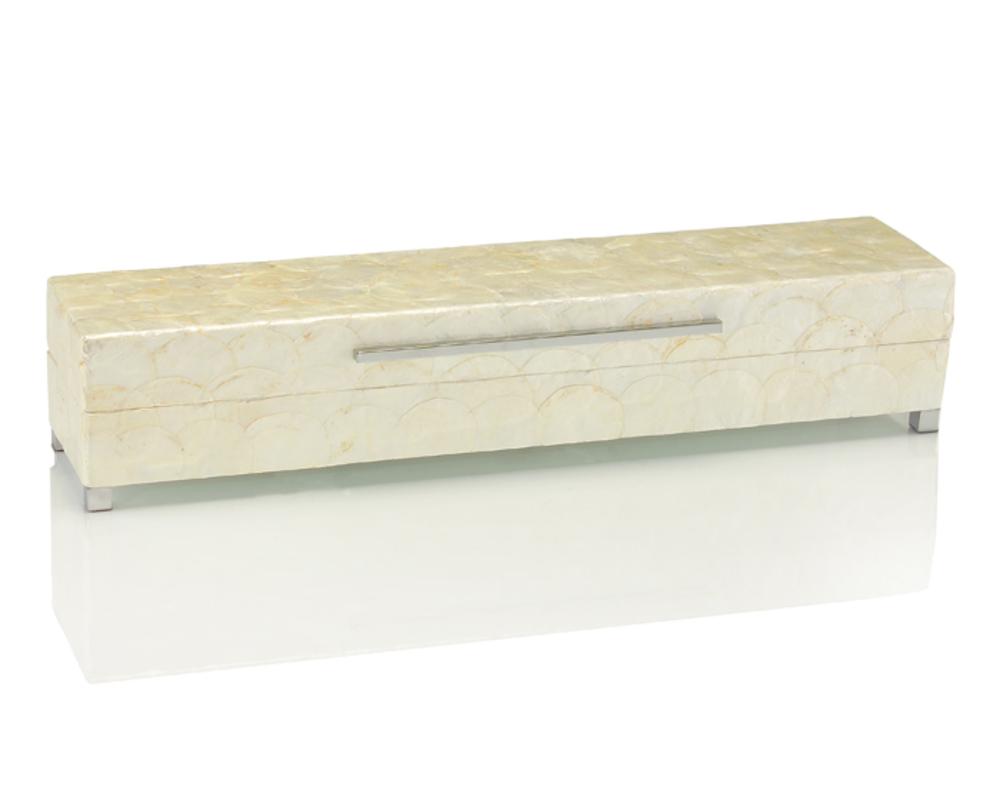 John Richard Collection - Long White Capiz Shell Box