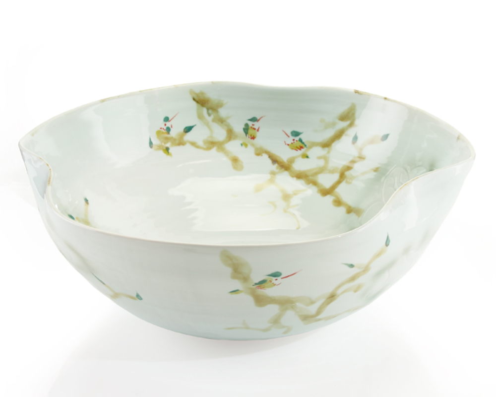 John Richard Collection - Curled Rim XL Bowl, Greens