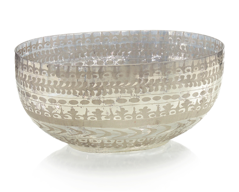 John Richard Collection - Etched Mercury Glass Bowl