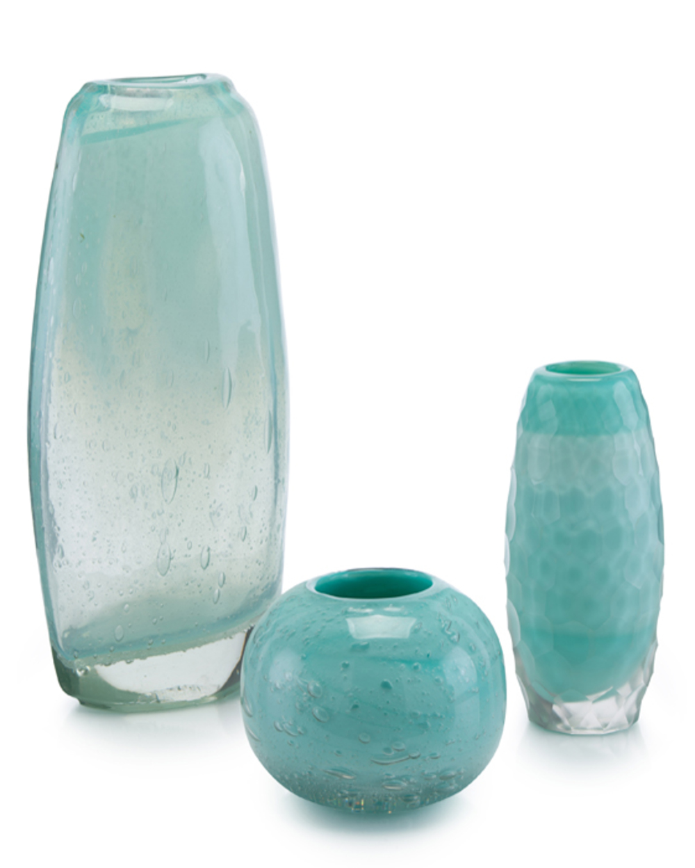 John Richard Collection - Floating Aqua Glass Vases, Set/3