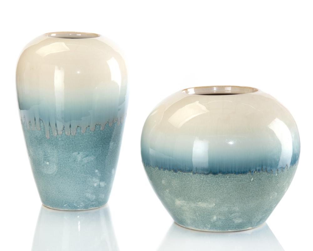 John Richard Collection - Cream Melting Into Blue Vases, Set/2