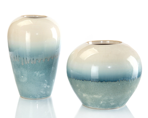 Thumbnail of John Richard Collection - Cream Melting Into Blue Vases, Set/2